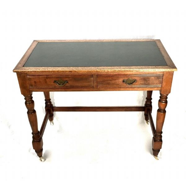 Victorian Antique Oak Writing / Work Desk by Jas Shoolbred - London c.1880